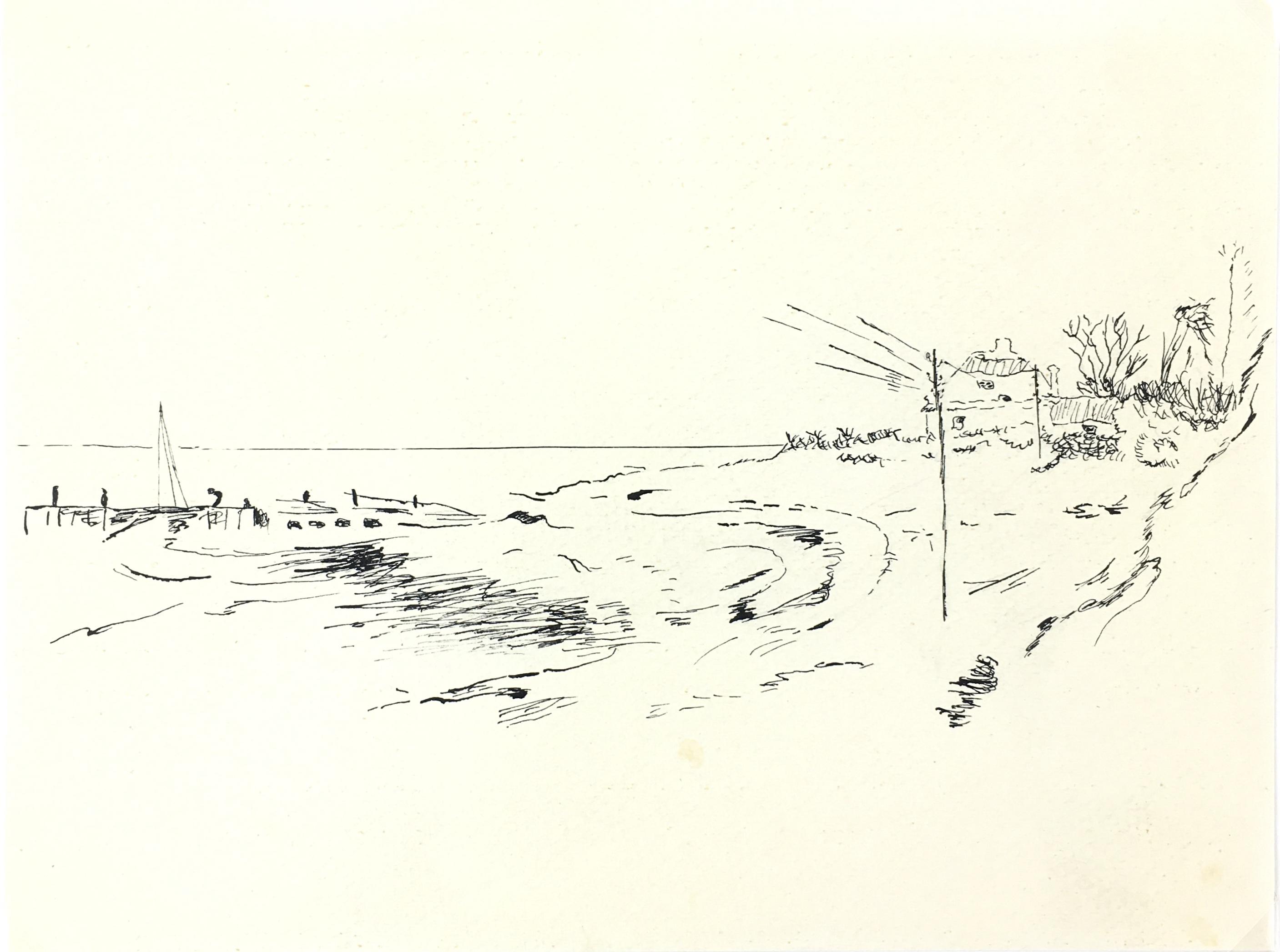 Beach Original Art - Beach Cove, c.1970