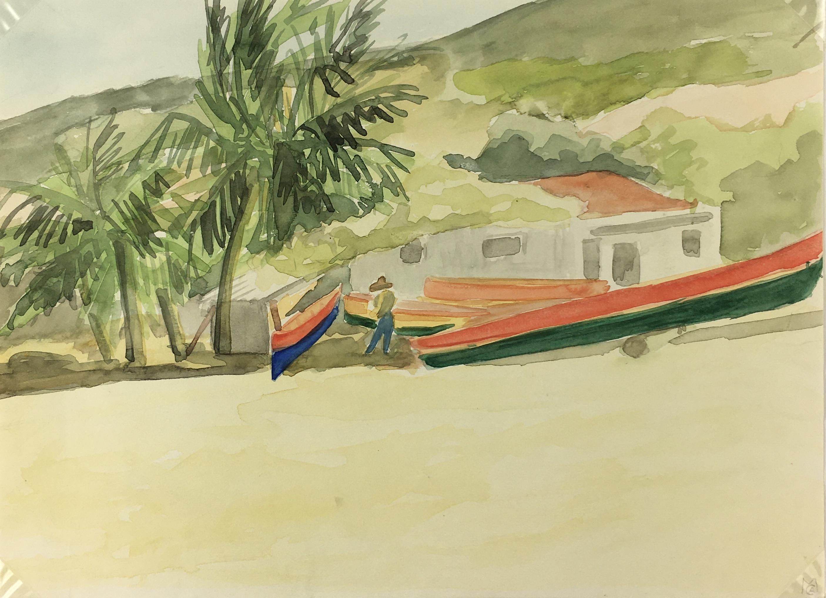 Beach Original Art - Carribean Shore, M.C.A, 1990