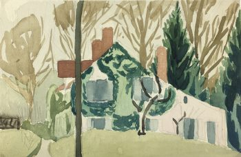 Country Landscapes Original Art - Country Home, C.1950