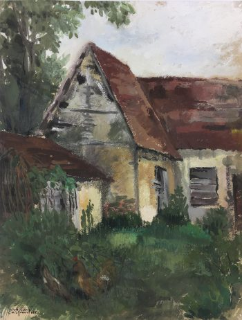 Country Landscapes Original Art - Country Cottage, Suzanne Carpentier, C.1960