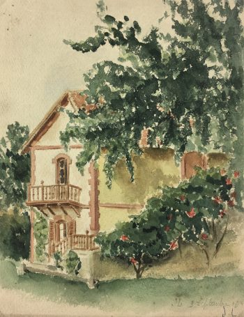 Country Landscapes Original Art - Country Home, J.L, C.1930