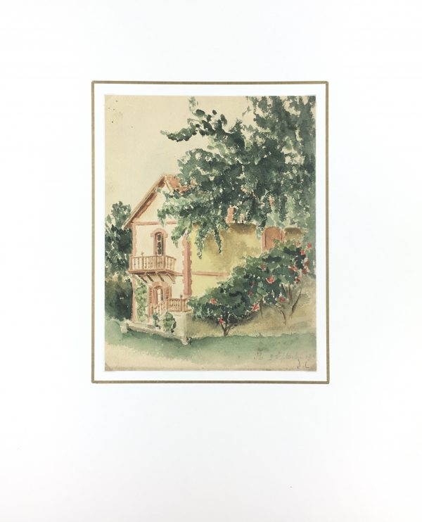 Country Landscapes Original Art - Country Home, J.L, C.1930
