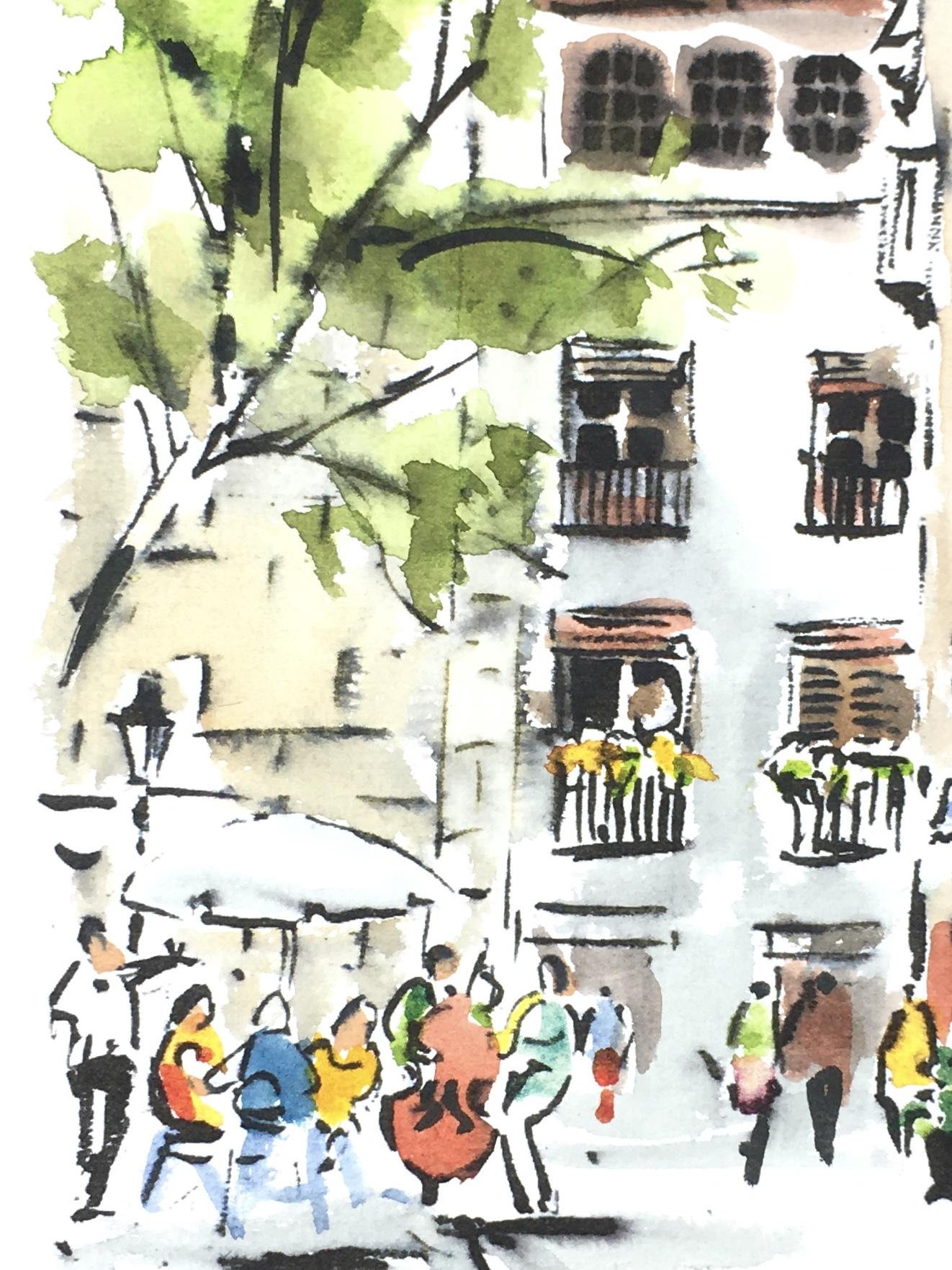 Spain Original Art - Spain- Barcelona, Signed F., 2018