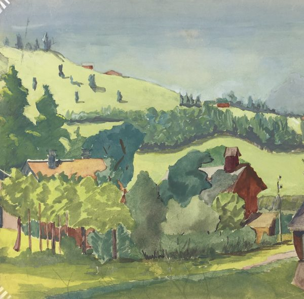 Farm Landscapes Original Art - Farms, M. Joyet, 1955