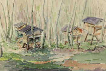 Farm Landscapes Original Art - Chicken Coops, C.1950