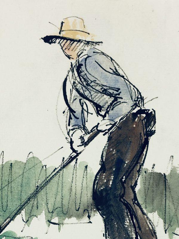 Farm Landscapes Original Art - Farmer, JP Grancher, C.1950