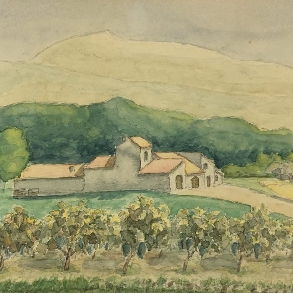 Farm Landscapes Original Art - Olives and Farm, Signed, 1970