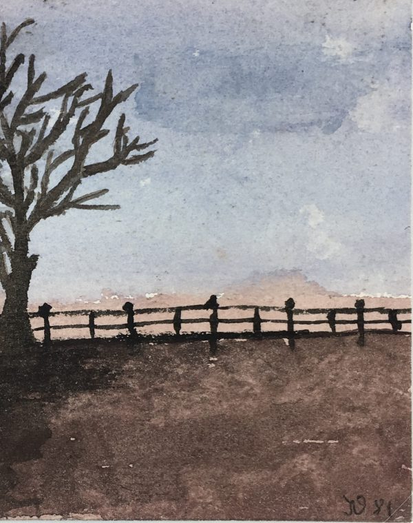 Farm Landscapes Original Art - Fence line at Dusk, Signed, 1981