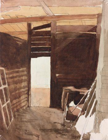 Farm Landscapes Original Art - Chicken in Barn, C.1920