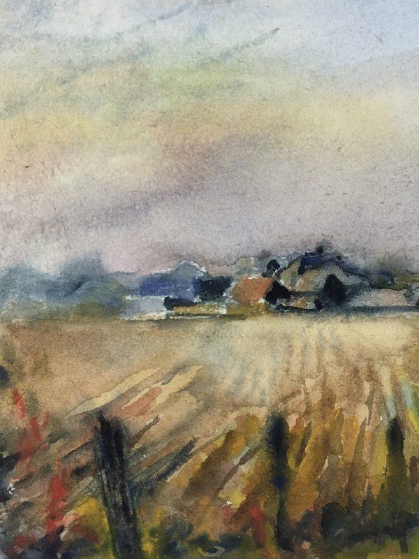Farm Landscapes Original Art - Fields, Tae, C.1960