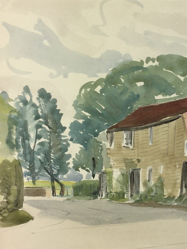 Farm Landscapes Original Art - Farmhouse Watercolor, W. Cristall, C.1930