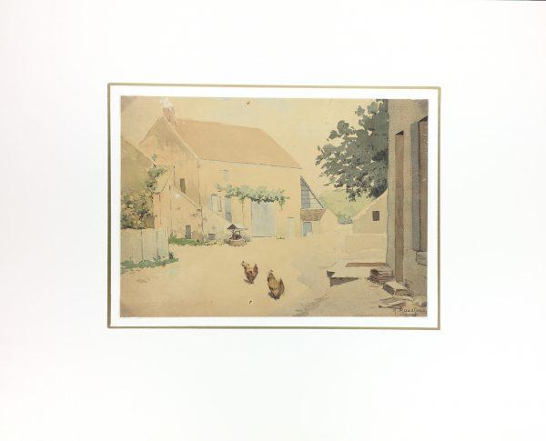 Farm Landscapes Original Art - French Farm, H. Rousseau, C.1910