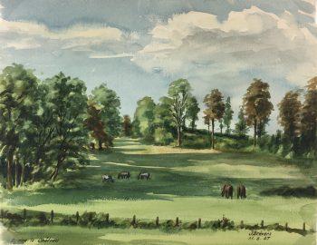 Farm Landscapes Original Art - Braine-le-Chateau, J. Brevers, 1947