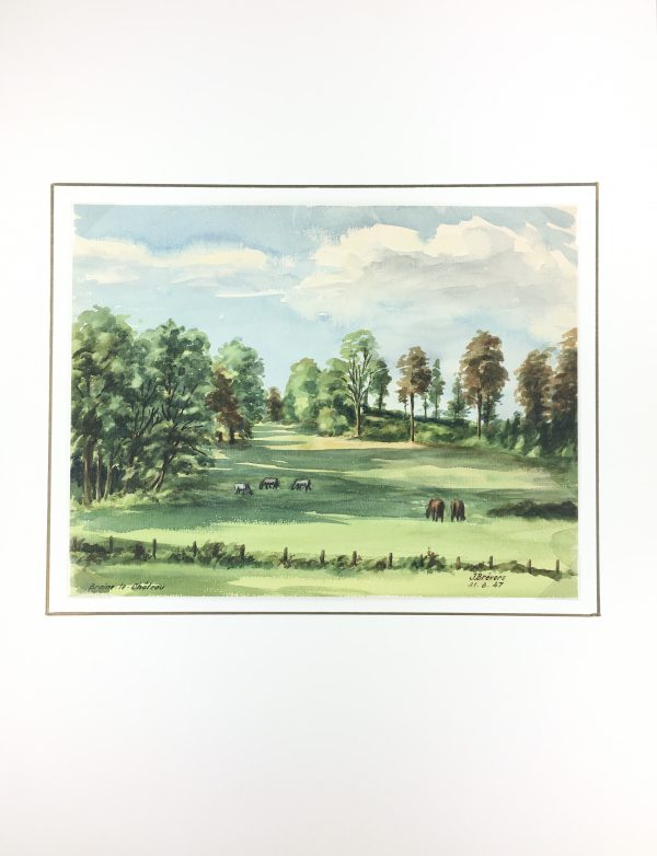 Farm Landscapes Original Art - Braine-le-Chateau, J. Brevers, 1947