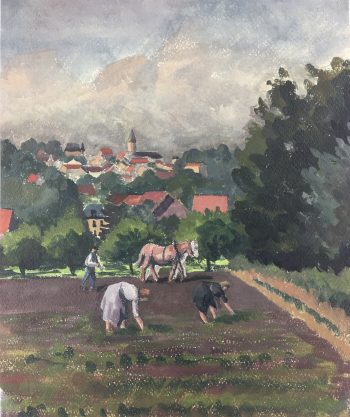 Farm Landscapes Original Art - Farm Work, C.1930