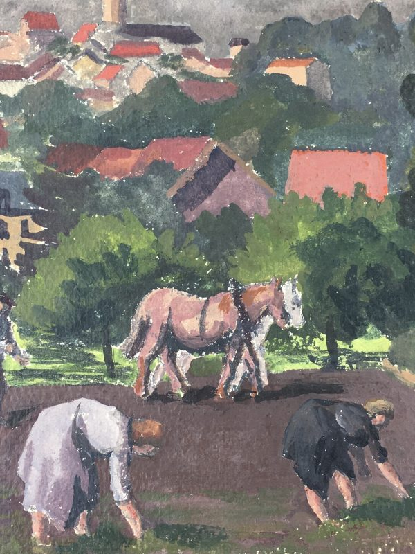 Farm Landscapes Original Art - Farm Work, C.1930