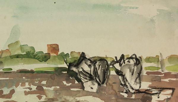 Farm Landscapes Original Art - Farm Watercolor, S. Maya are (1917-2010), 1950-1953