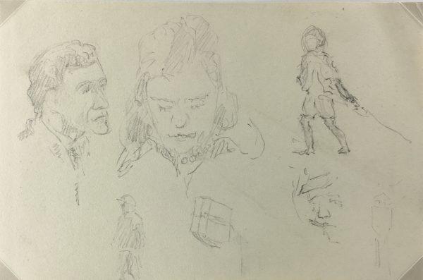 Figures Original Art - Pencil Sketch, Werner Bell , C.1960