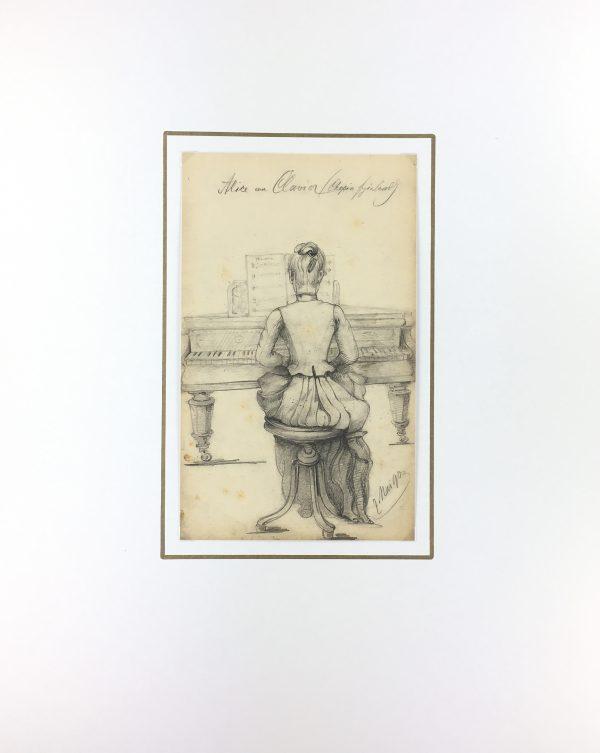 Figures Original Art - Alice on Clavier, E. Wollenweber, 1890
