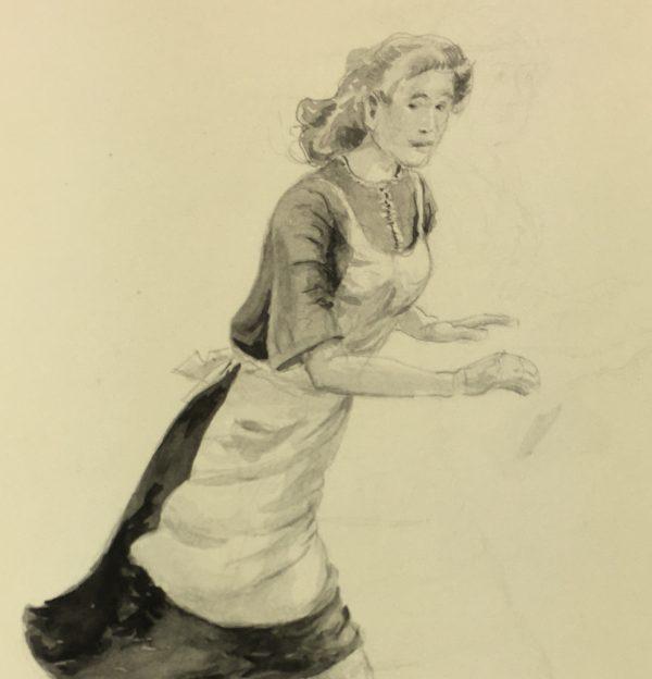 Figures Original Art - Rush to Oven , Werner Bell , C.1970