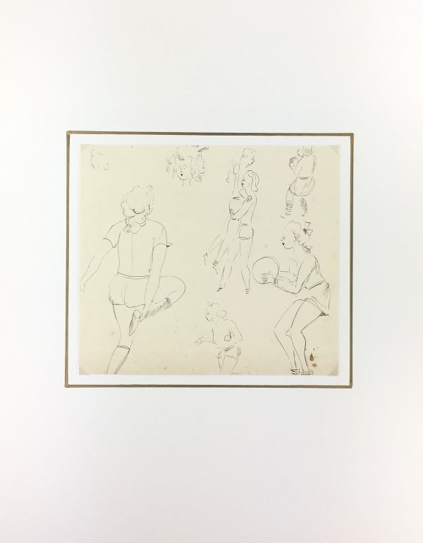 Figures Original Art - Volleyball Drawing , Werner Bell, C/1950