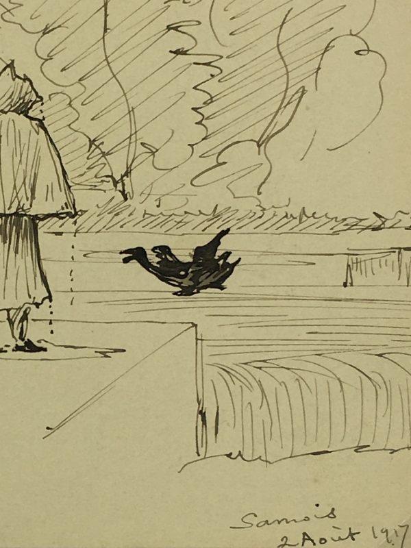 Figures Original Art - French Countryside, Emilie Cravoisier, C.1917