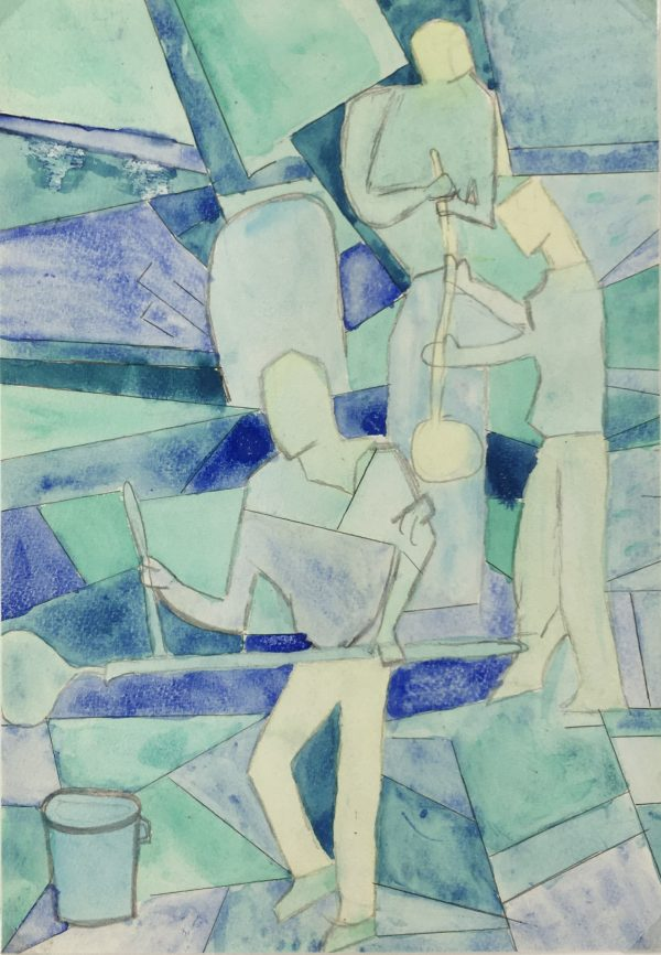 Figures Original Art - Glass Blowers, Gouache, C.1960