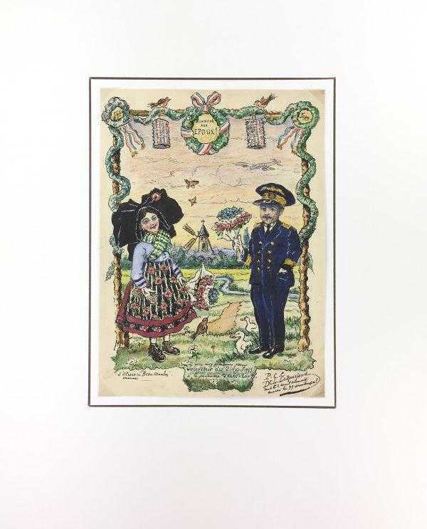 Figures Original Art - Wedding Wishes, Alsace, 1955