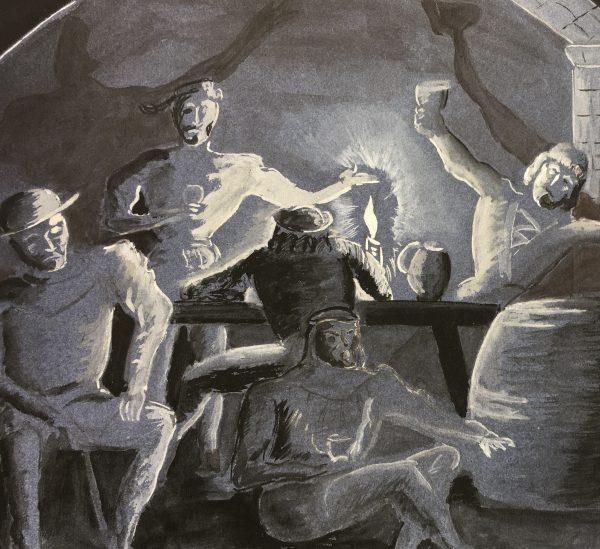 Figures Original Art - Tavern Gathering, Fillon, C.1960
