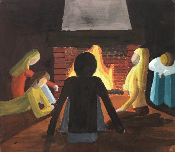 Figures Original Art - Fireplace, C.1980