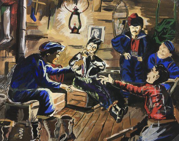 Figures Original Art - Winter Cabin, Gouache, C.1950