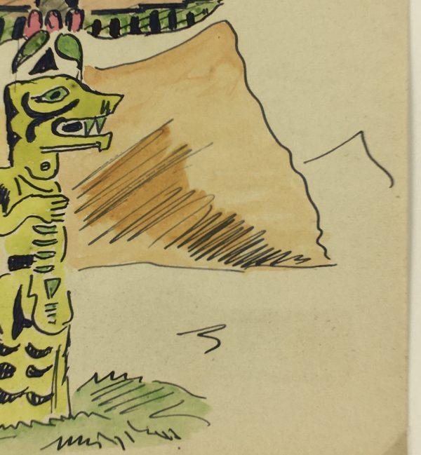 Figures Original Art - Totem Pole, 1950