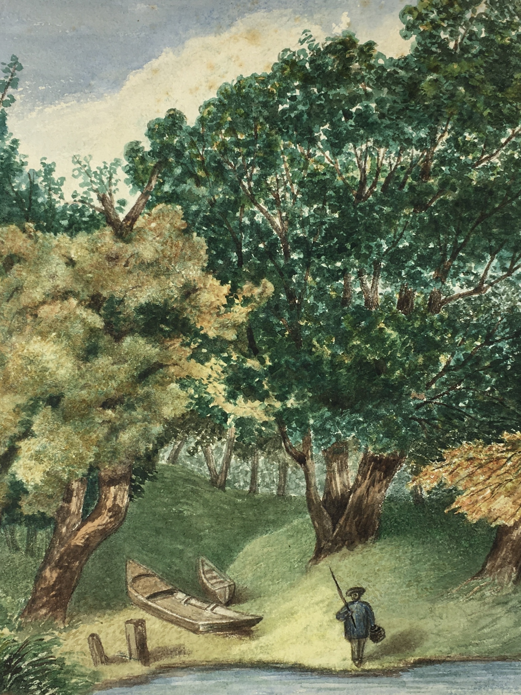 Animals Fish & Fishing Original Art - Bucolic Treescape, 1940