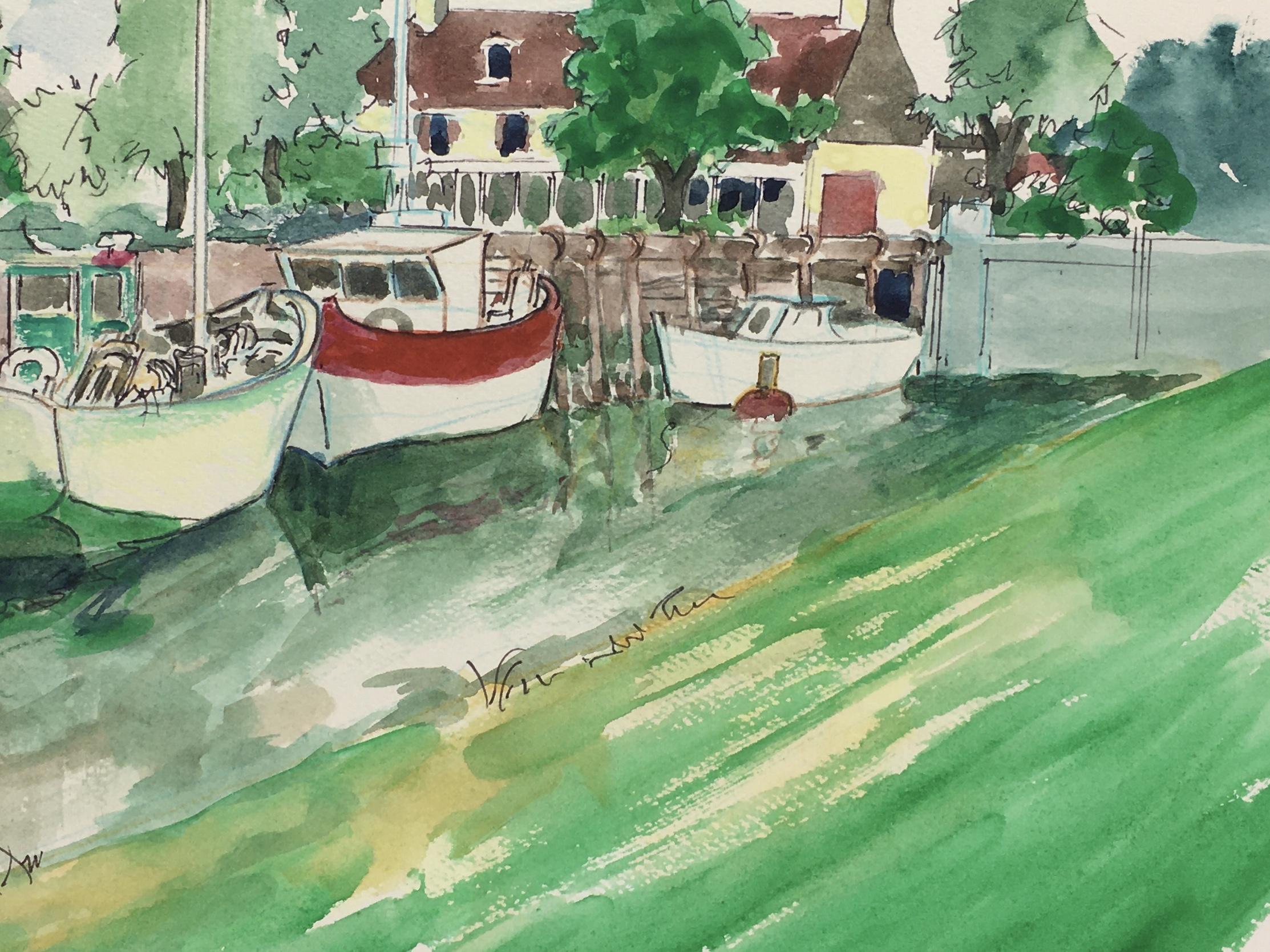 Animals Fish & Fishing Original Art - Fishing Boats, c.1970