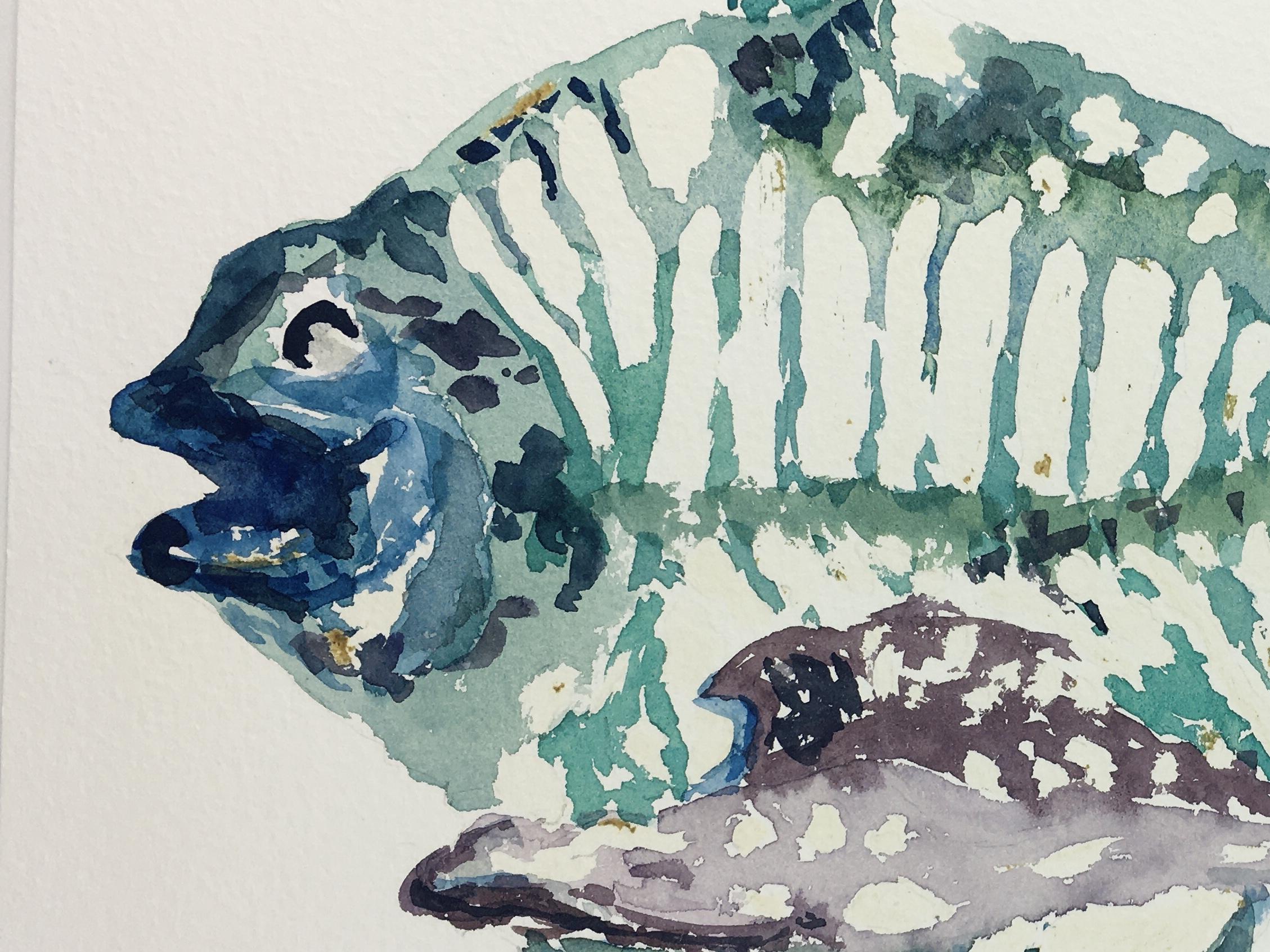 Animals Fish & Fishing Original Art - Turqouise Fish, 2000