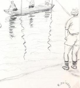 Animals Fish & Fishing Original Art - Fishing, R. Prigent, 1976