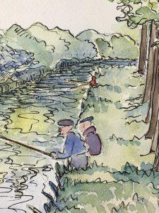 Animals Fish & Fishing Original Art - Fishing, Canal du Loing, 1937