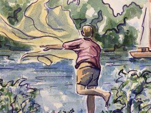 Animals Fish & Fishing Original Art - Fishing Net, Jean Chapront, 2003