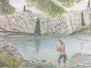 Animals Fish & Fishing Original Art - Fishing, Joan Powell, 1990