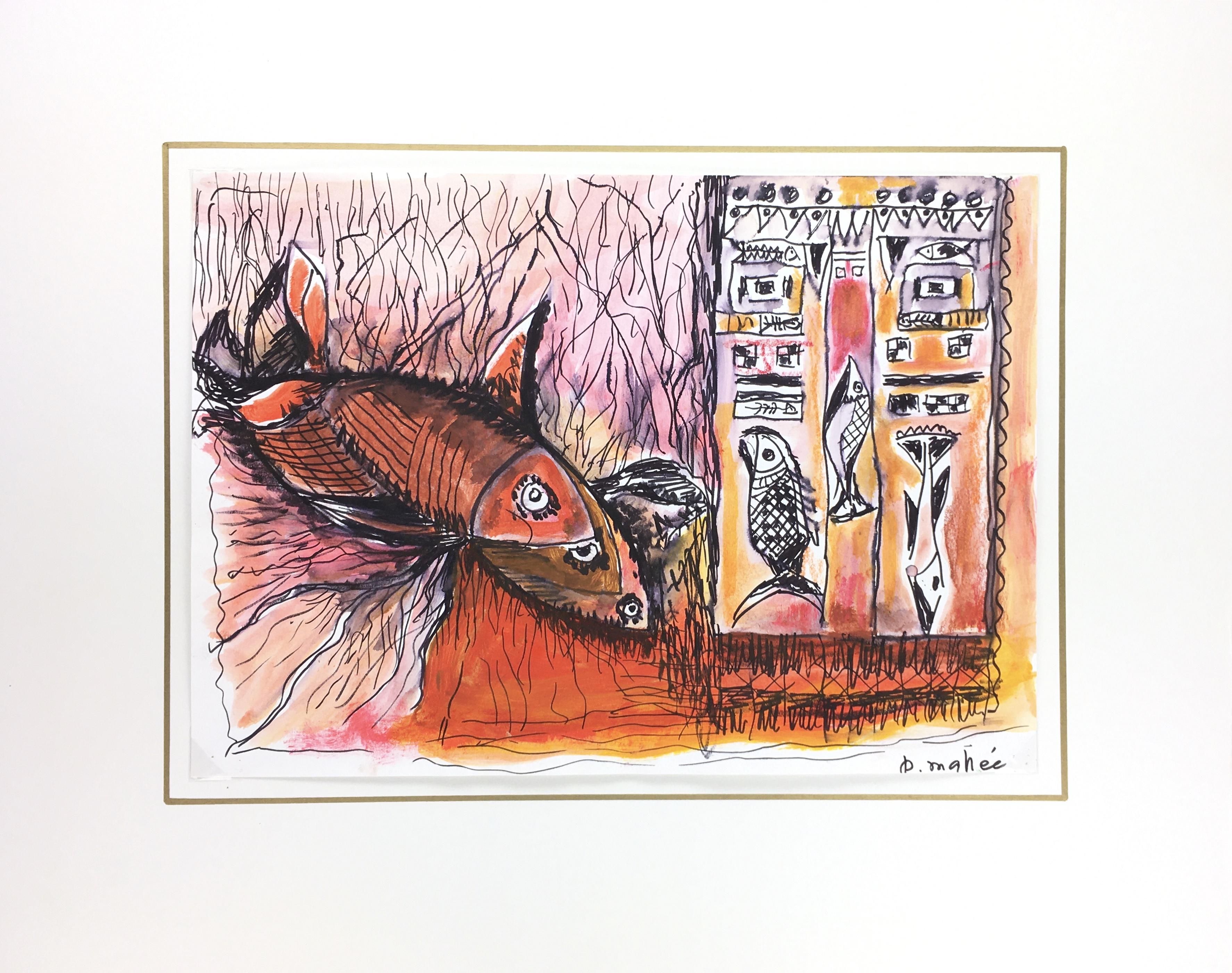 Animals Fish & Fishing Original Art - Fish, Modern, P. Mahee, 2000