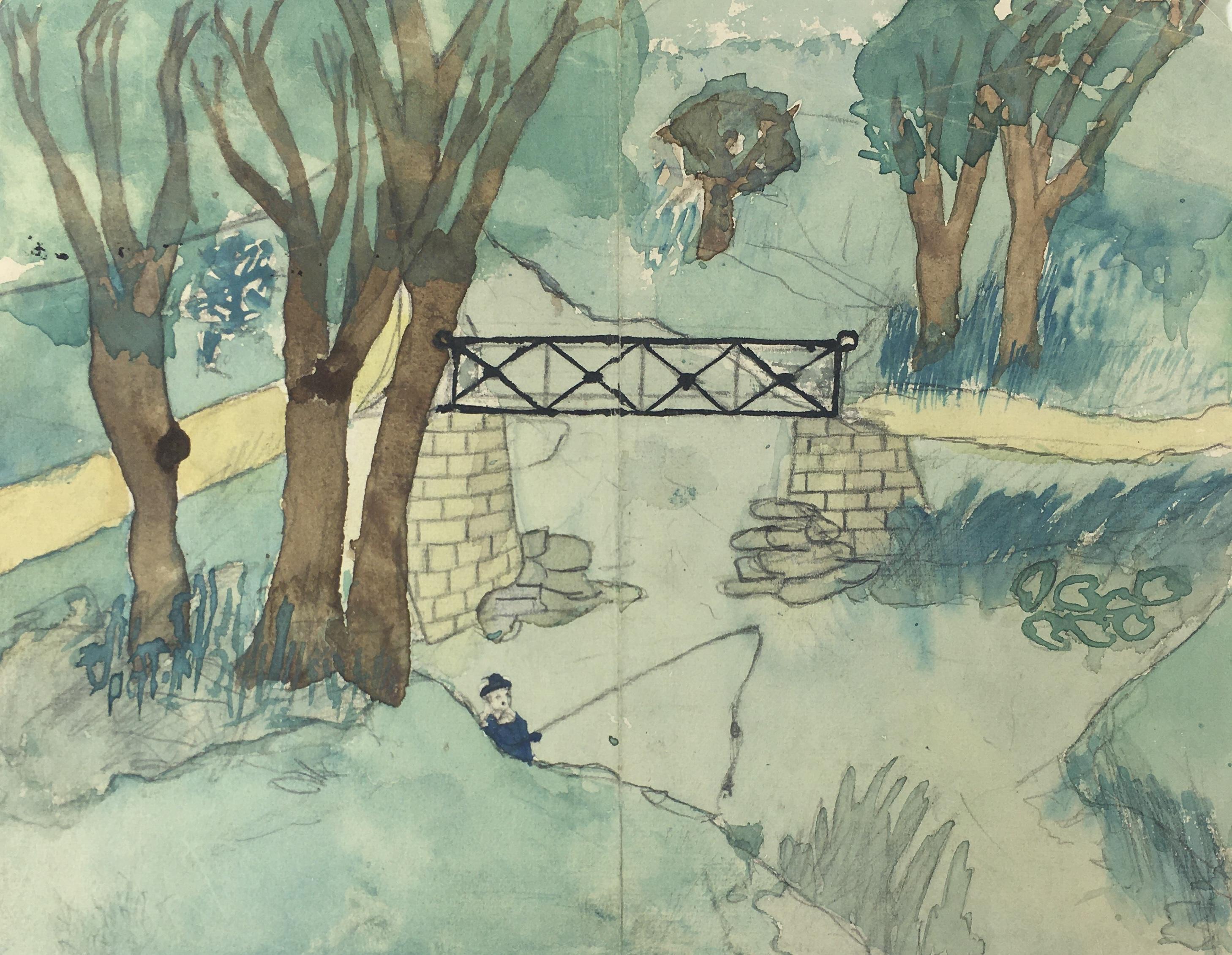 Animals Fish & Fishing Original Art - Boy Fishing, c.1950