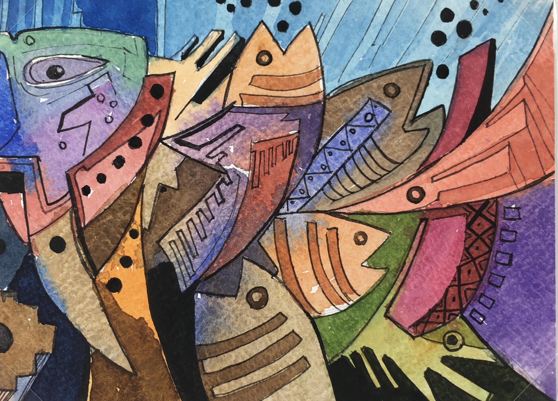 Animals Fish & Fishing Original Art - Modern Fish, 2015