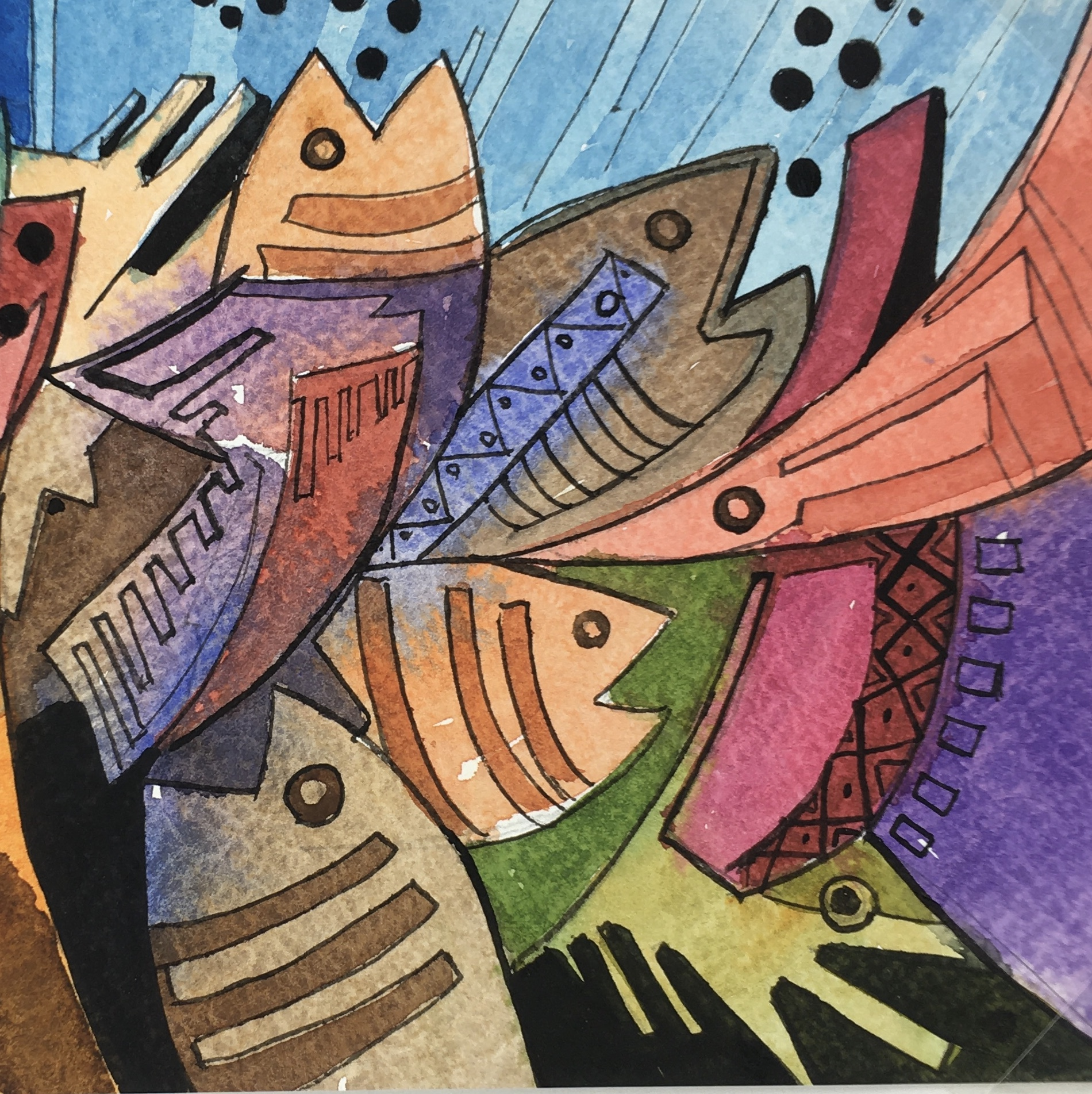 Animals Fish & Fishing Original Art - Modern Fish, 2015