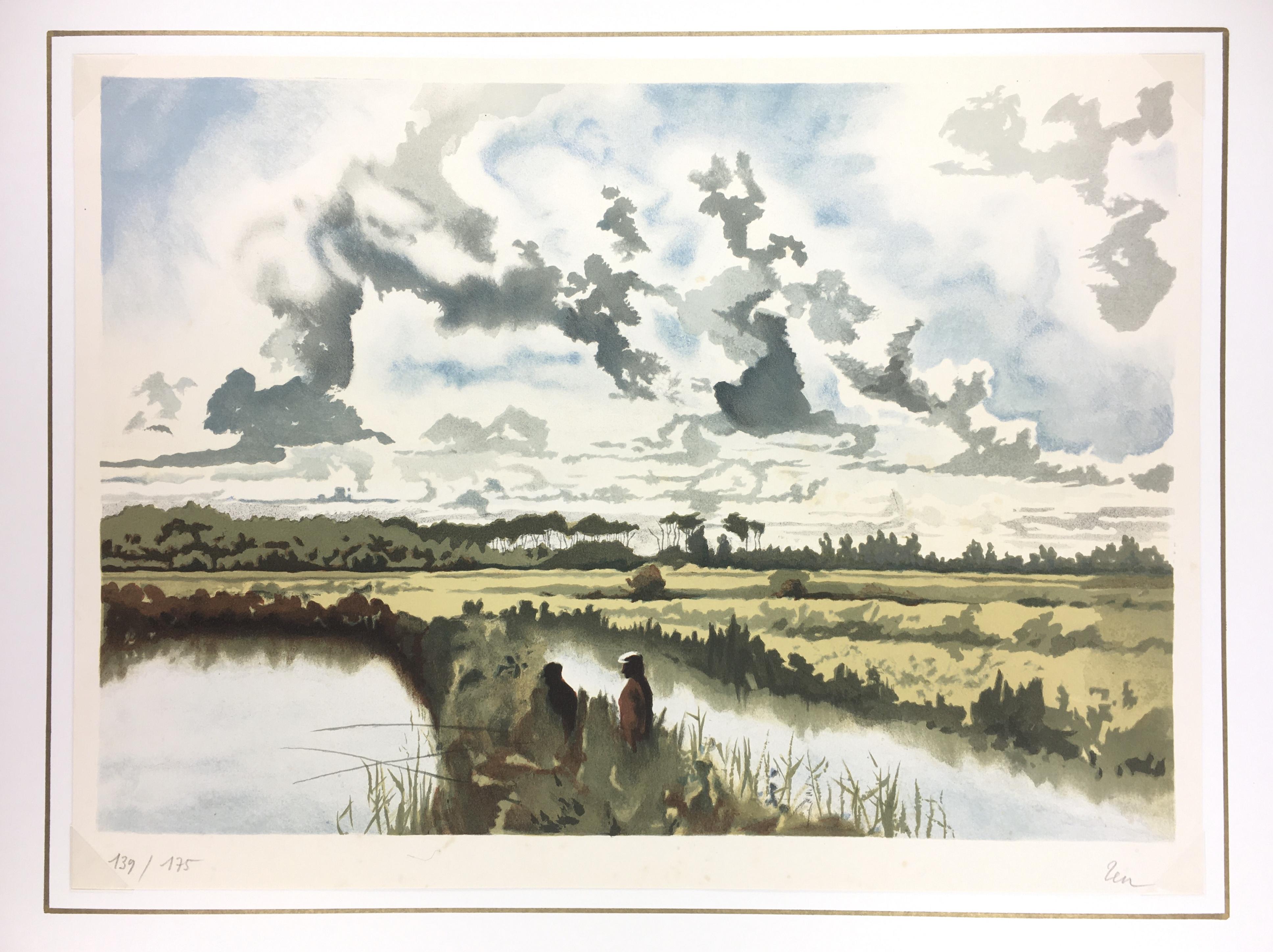Animals Fish & Fishing Original Art - Fishing Horizon, Zen, 1980