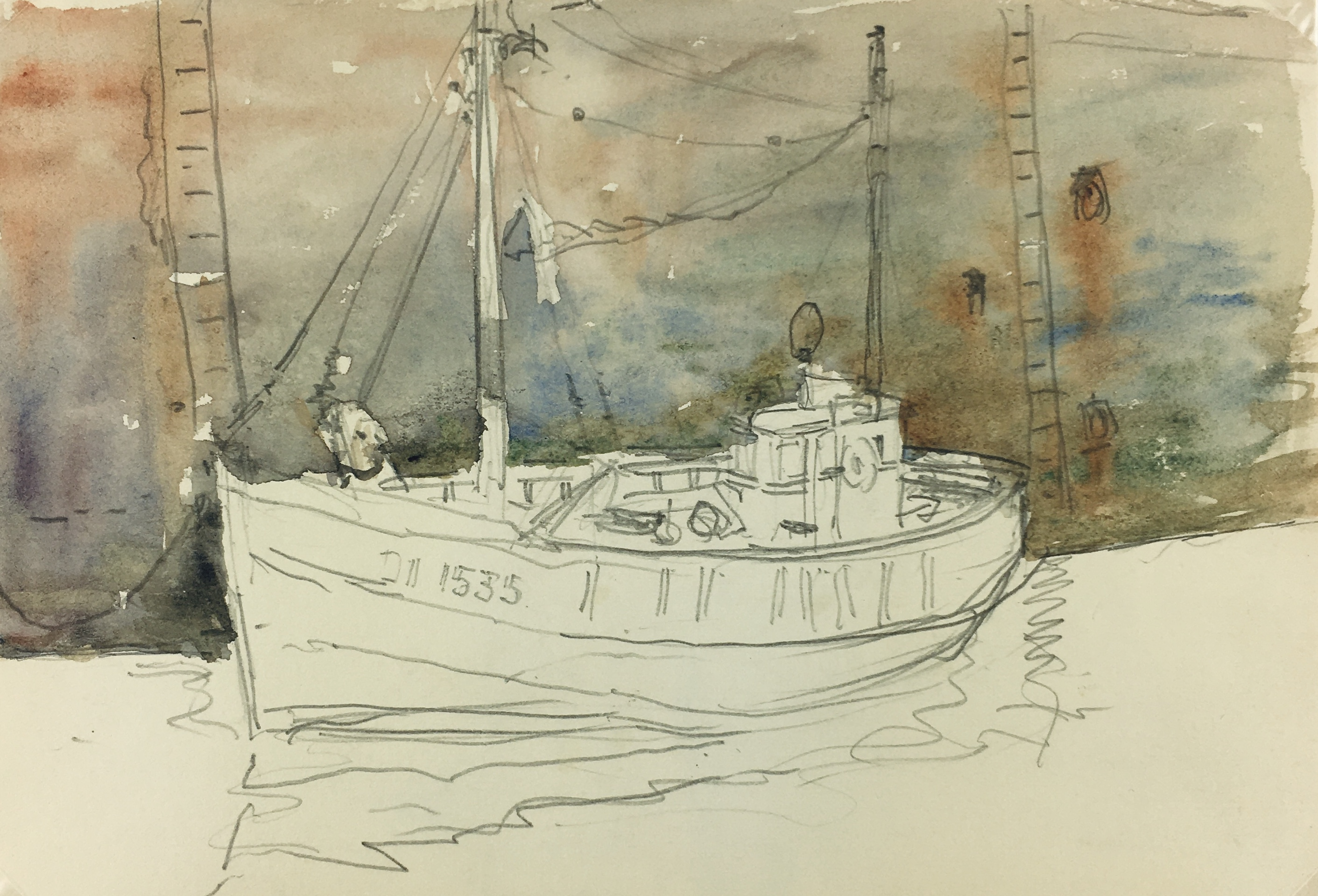 Maritime Original Art - Port, C. Groux, c.1940
