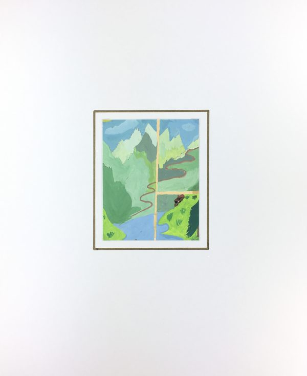 Mountains Original Art - Alpine View, C.1960