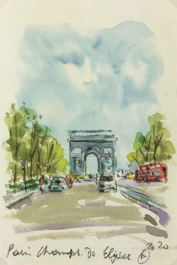 Paris, France Original Art - Champs-Élysées, Signed F, 2020