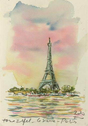 Paris, France Original Art - Eiffel Tower, Signed F, 2020