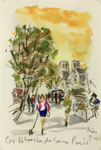 Paris, France Original Art - Bouquinistes, Signed F, 2020