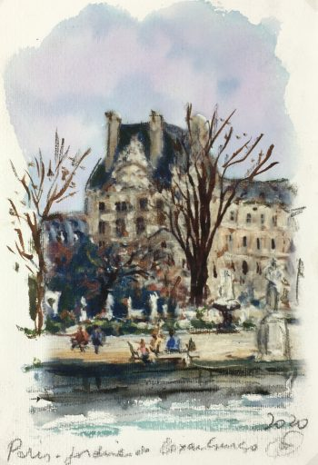 Paris, France Original Art - Luxembourg Gardens, Signed F, 2020